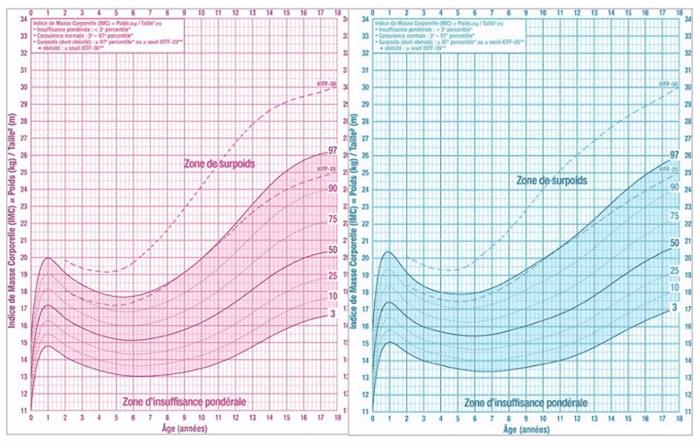courbe de calcul de l'imc